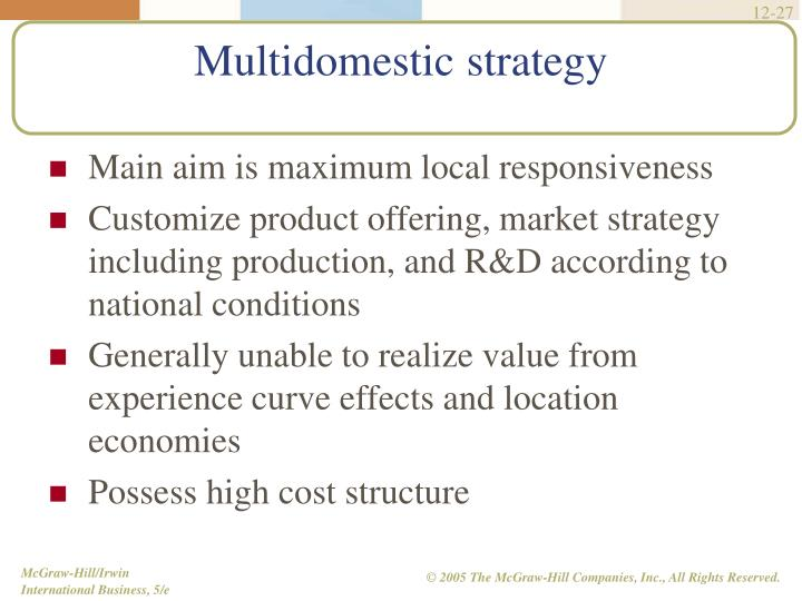 Main aim is maximum local responsiveness