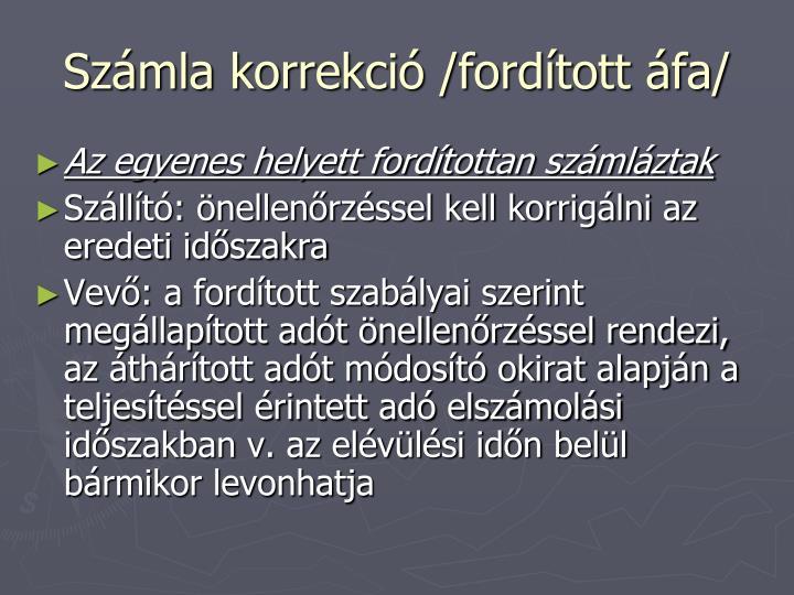 Számla korrekció /fordított áfa/