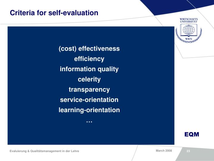 Criteria for self-evaluation