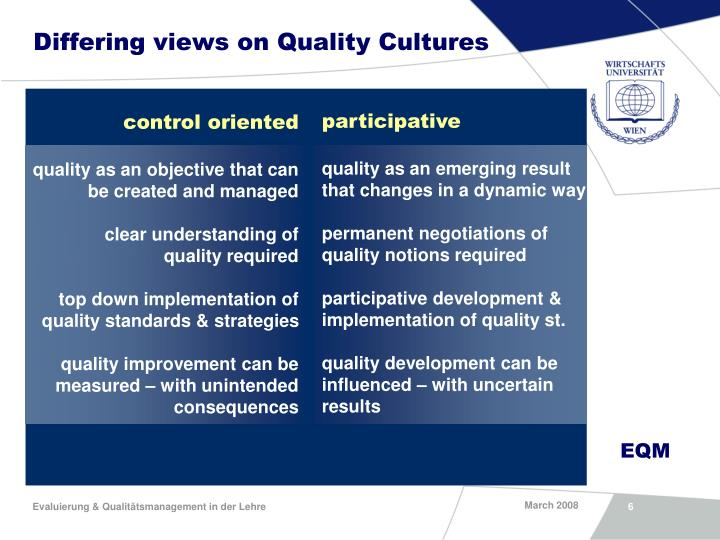 Differing views on Quality Cultures