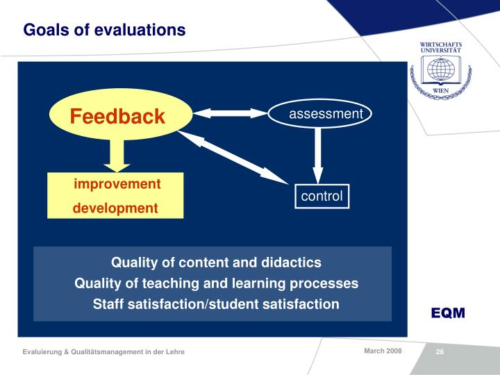 Goals of evaluations