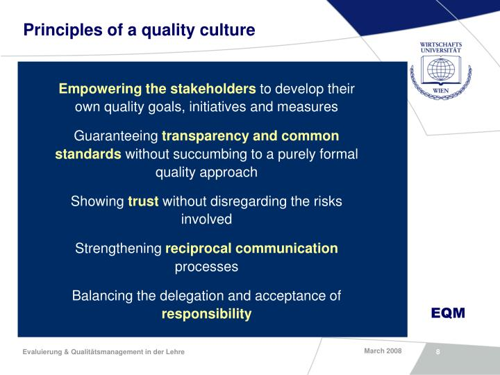 Principles of a quality culture
