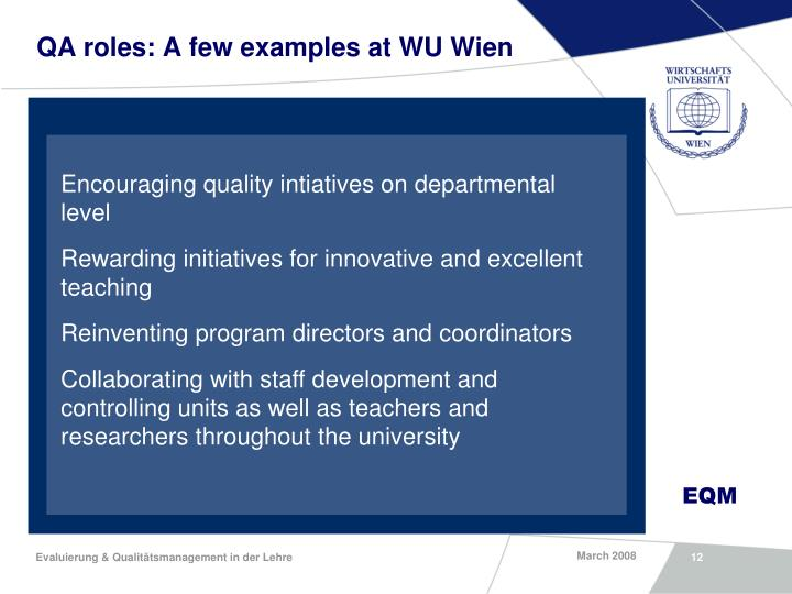 QA roles: A few examples at WU Wien