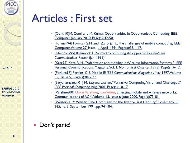 Articles : First set