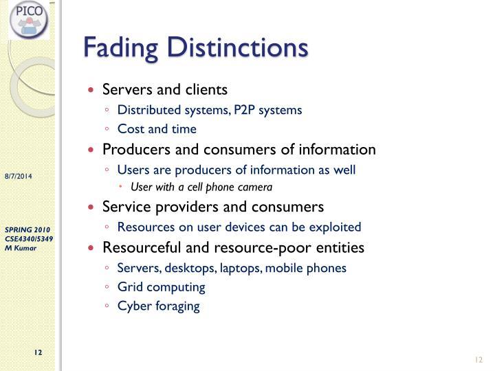 Fading Distinctions