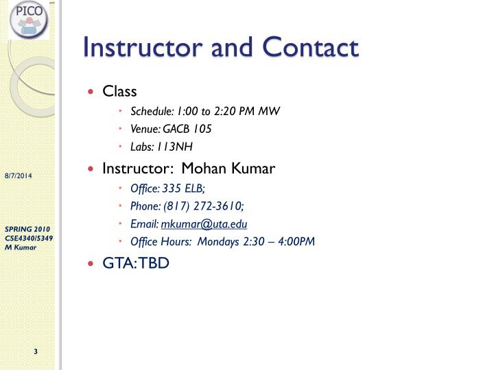 Instructor and contact