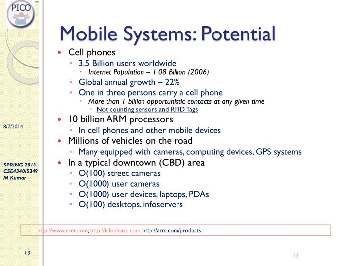 Mobile Systems: Potential
