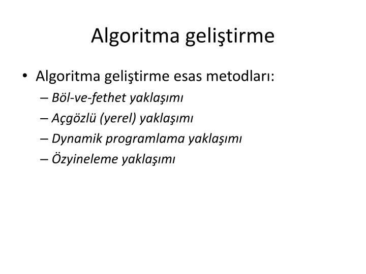 Algoritma geliştirme