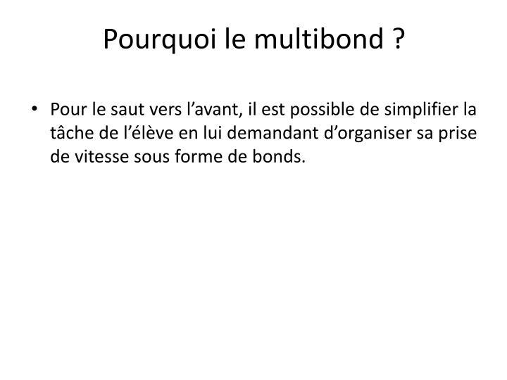 Pourquoi le multibond ?