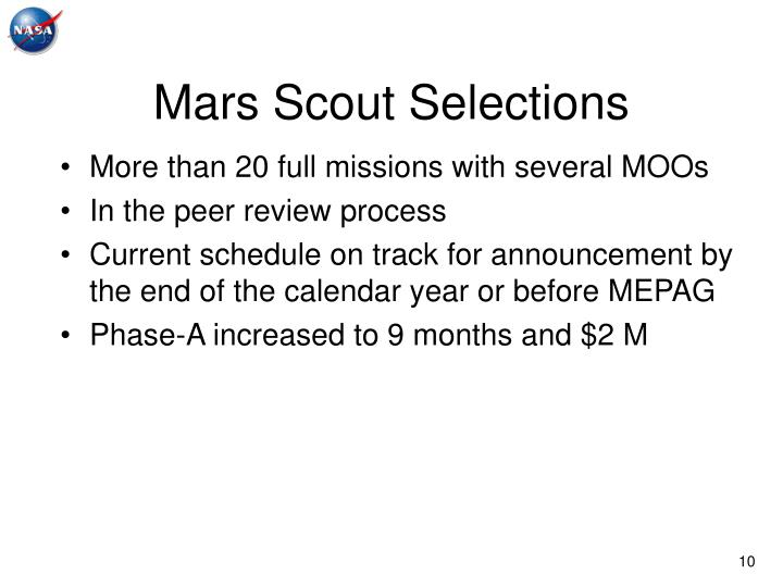 Mars Scout Selections