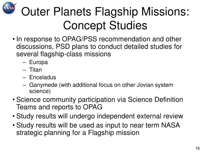 Outer Planets Flagship Missions:
