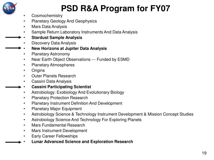 PSD R&A Program for FY07