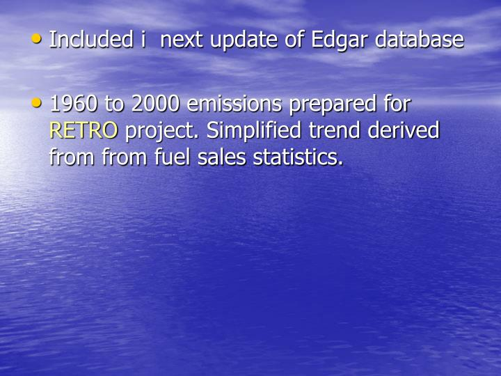 Included i  next update of Edgar database
