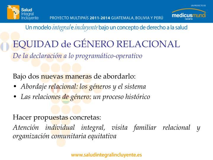 EQUIDAD de GÉNERO RELACIONAL