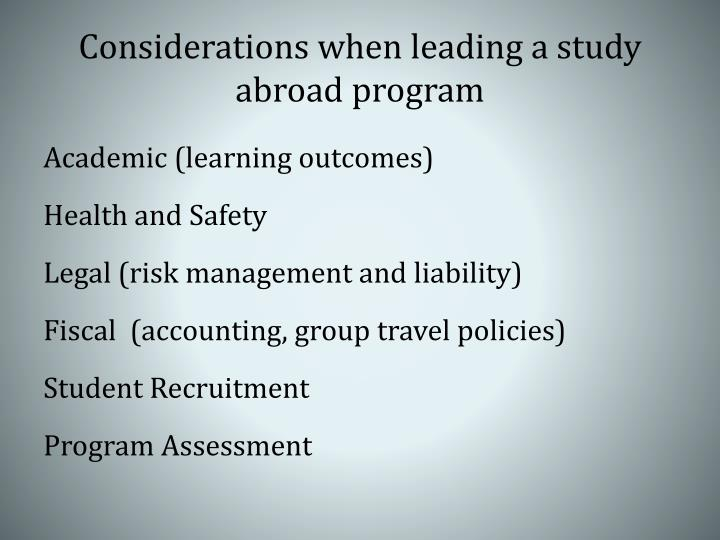Considerations when leading a study abroad program