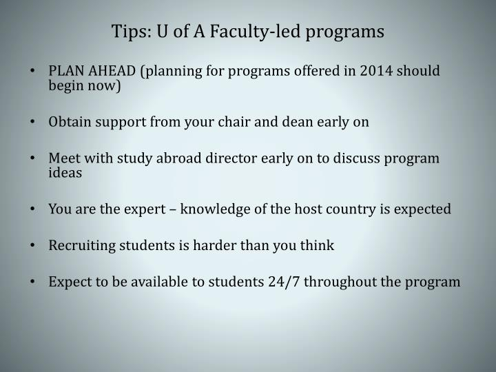 Tips: U of A Faculty-led programs