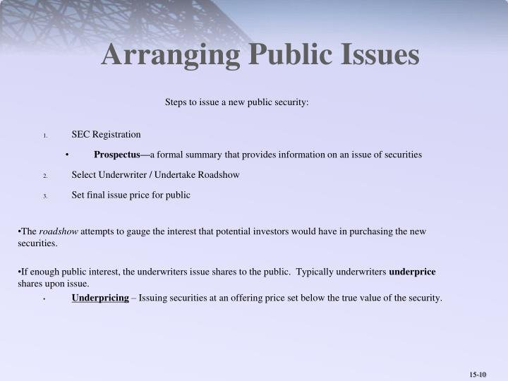 Arranging Public Issues