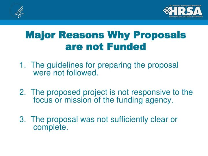 Major Reasons Why Proposals are not Funded