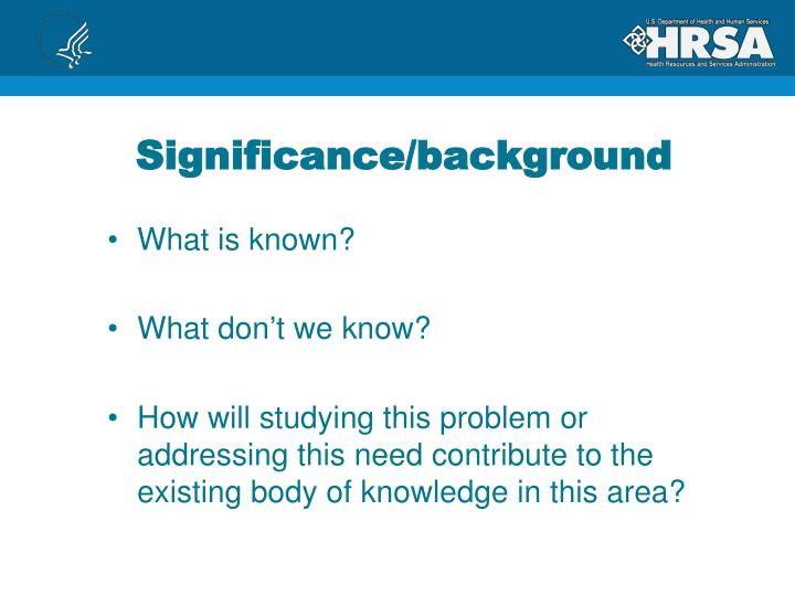 Significance/background