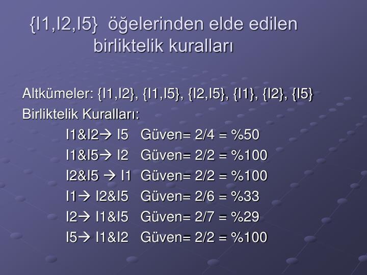 {I1,I2,I5}  öğelerinden elde edilen birliktelik kuralları