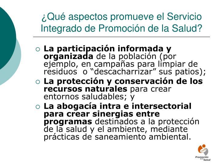 ¿Qué aspectos promueve el Servicio Integrado de Promoción de la Salud?