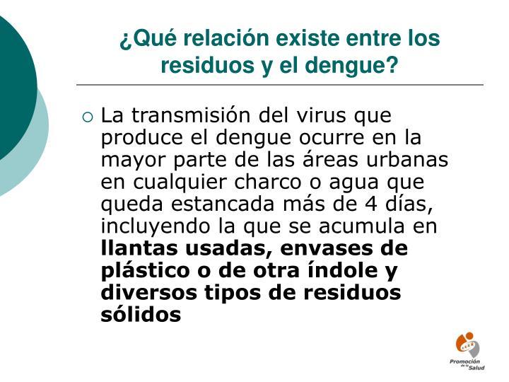 ¿Qué relación existe entre los residuos y el dengue?