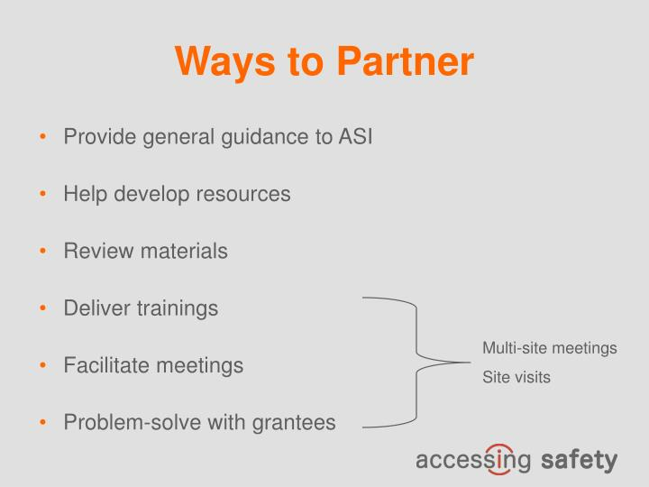 Ways to Partner
