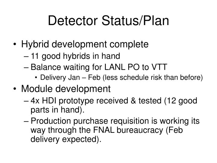 Detector Status/Plan