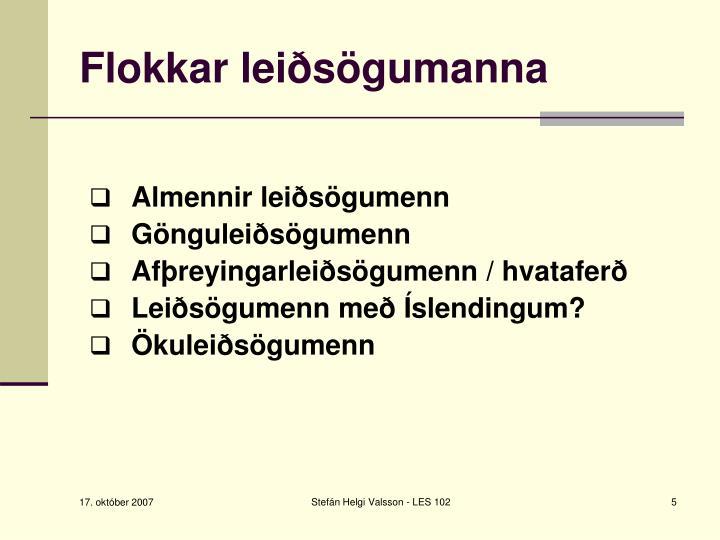 Flokkar leiðsögumanna