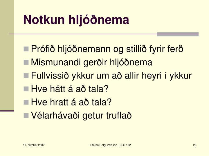 Notkun hljóðnema