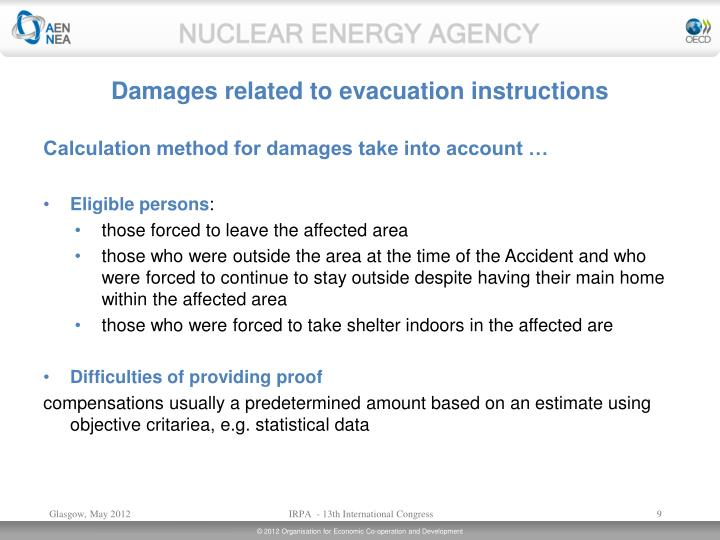Damages related to evacuation instructions
