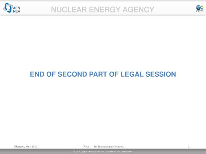 END OF SECOND PART OF LEGAL SESSION