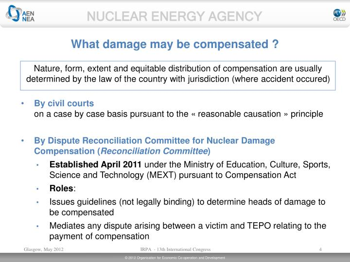 What damage may be compensated ?