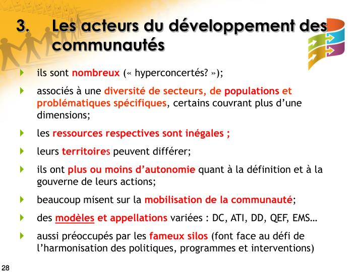 3.Les acteurs du développement des communautés