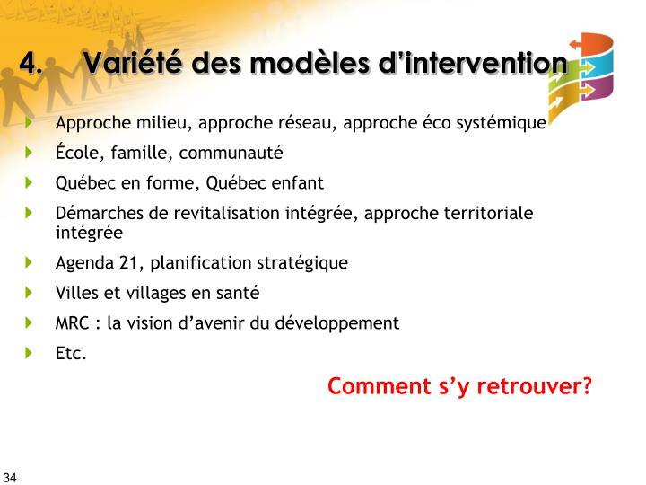 4. Variété des modèles d'intervention