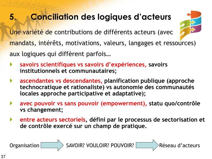 5.Conciliation des logiques d'acteurs