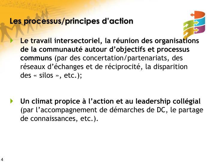 Les processus/principes d'action