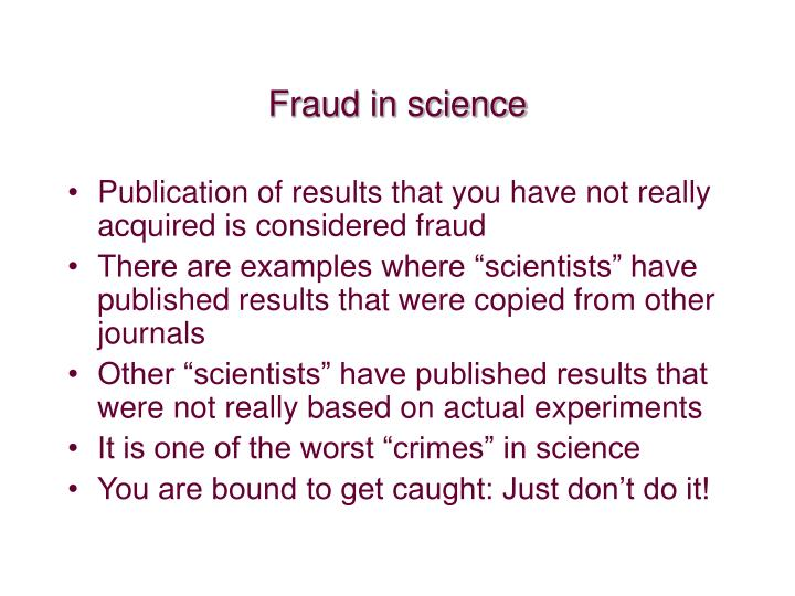 Fraud in science