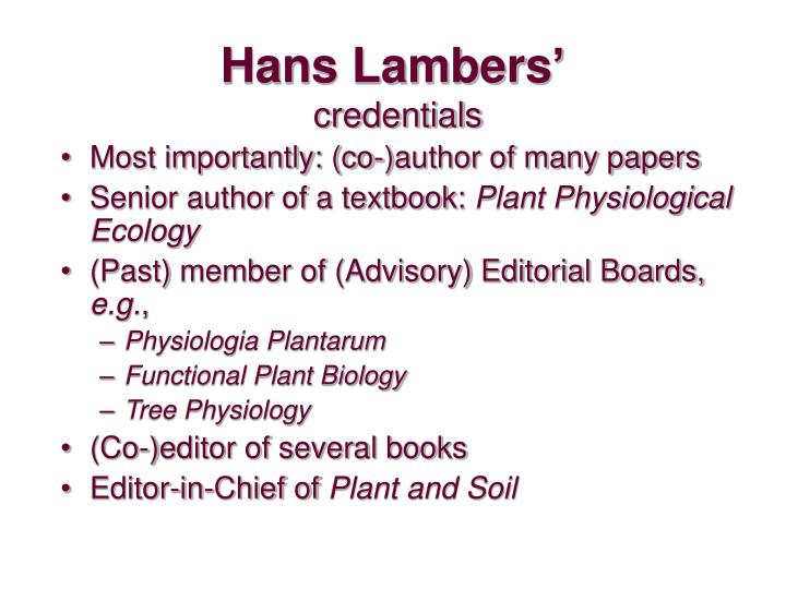 Hans Lambers'