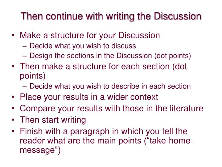 Then continue with writing the Discussion