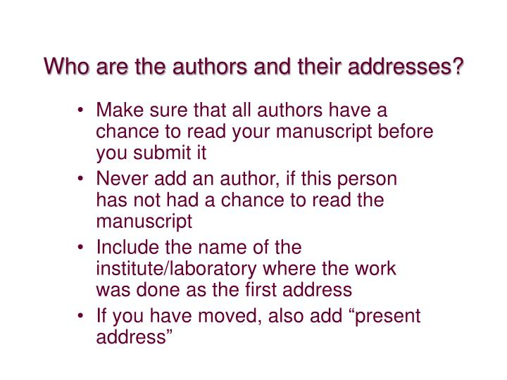 Who are the authors and their addresses?