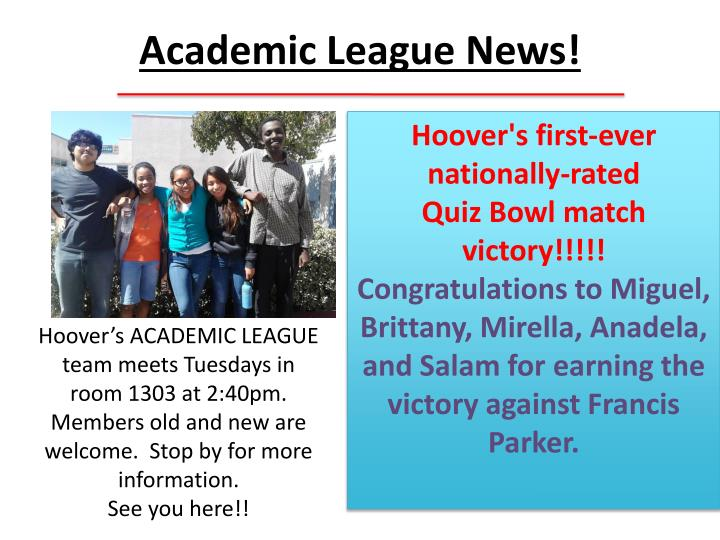 Academic League News!