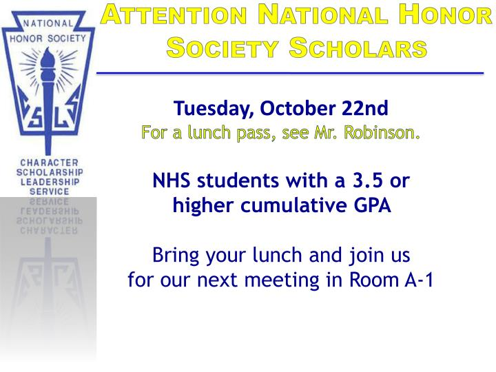 Attention National Honor Society Scholars
