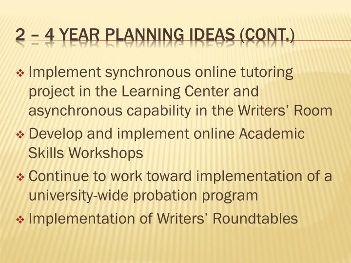 Implement synchronous online tutoring project in the Learning Center and asynchronous capability in the Writers' Room