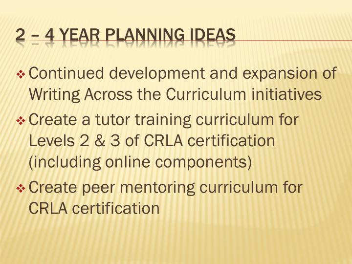 Continued development and expansion of Writing Across the Curriculum initiatives