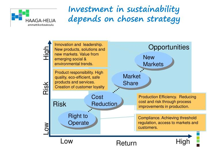 Investment in sustainability depends on chosen strategy