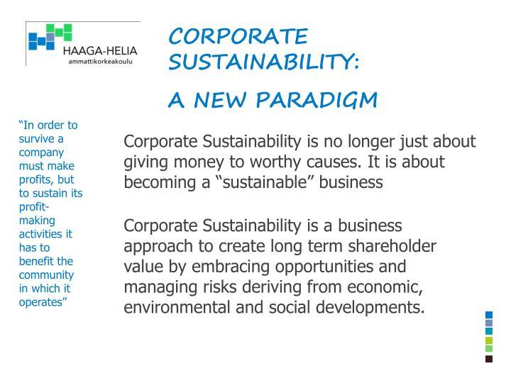 Corporate sustainability: