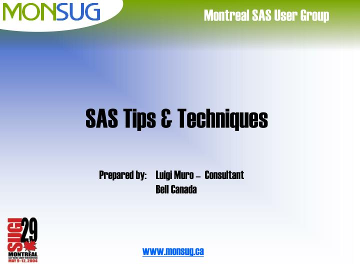 Sas tips techniques
