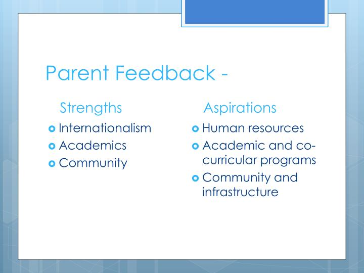 Parent Feedback -