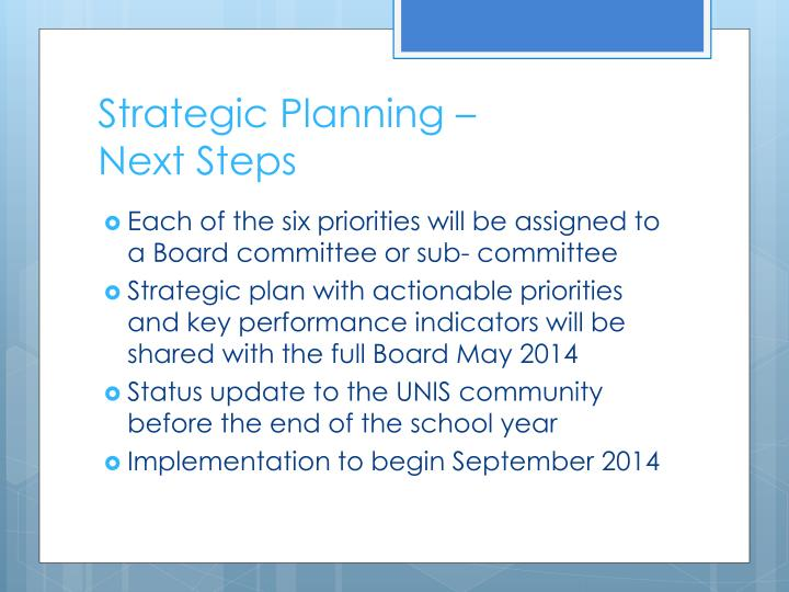 Strategic Planning –